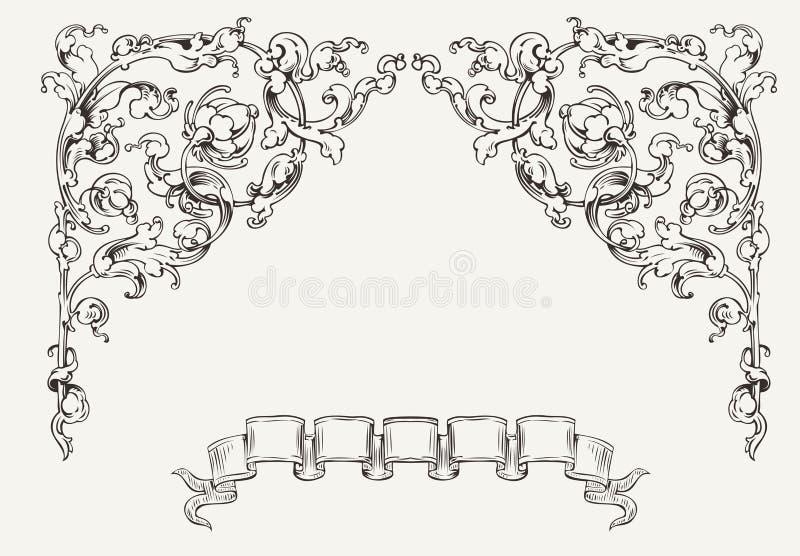Angles fleuris élevés et bannière illustration stock