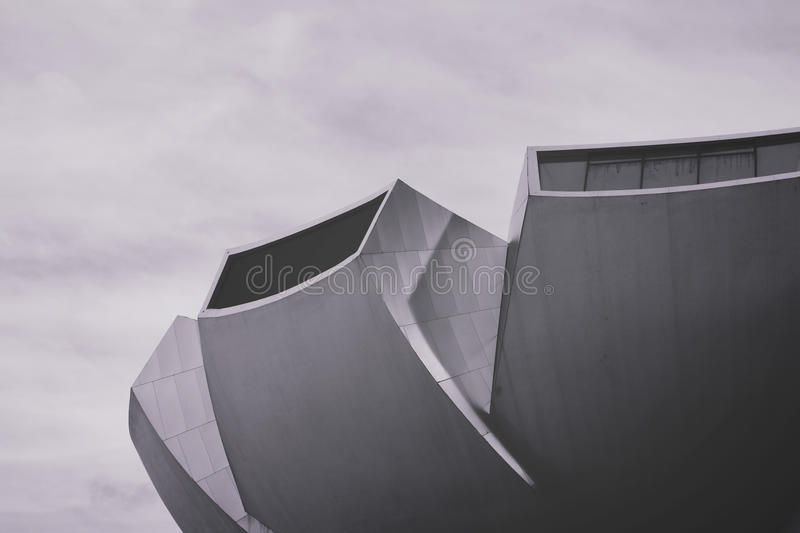 Angles of modern architecture in black and white stock image