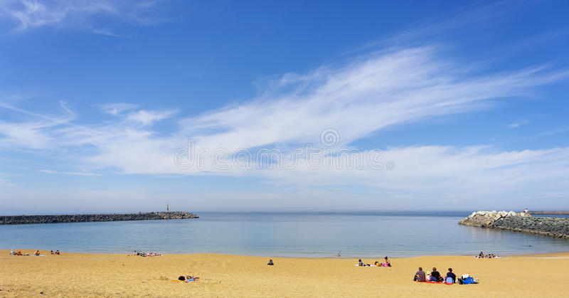 Anglet beach in basque coast royalty free stock images
