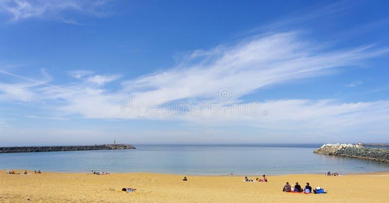 Anglet -strand in Baskische kust royalty-vrije stock afbeeldingen