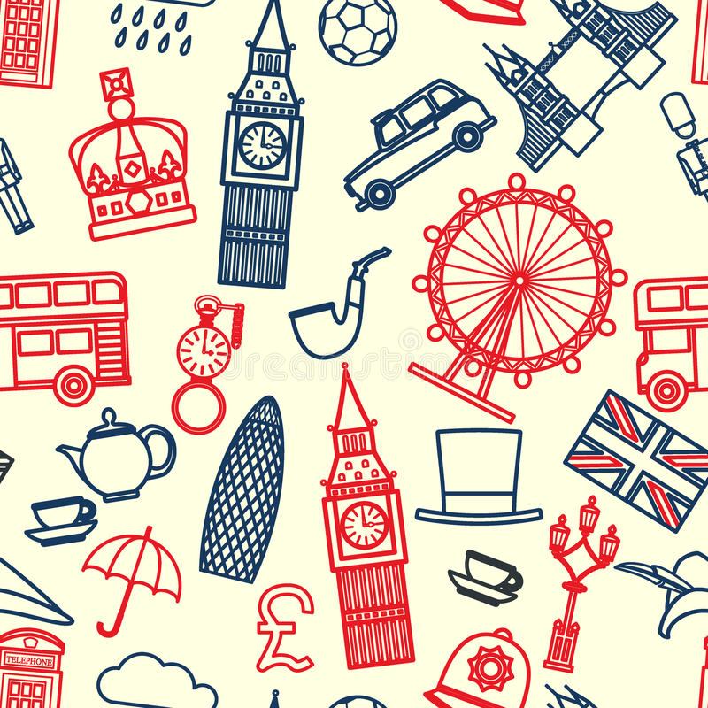 Anglia bezszwowy wzór 1 ilustracja wektor