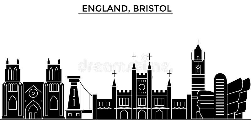Anglia, Bristol architektury miasto wektorowa linia horyzontu, podróż pejzaż miejski z punktami zwrotnymi, budynki, odosobneni wi royalty ilustracja