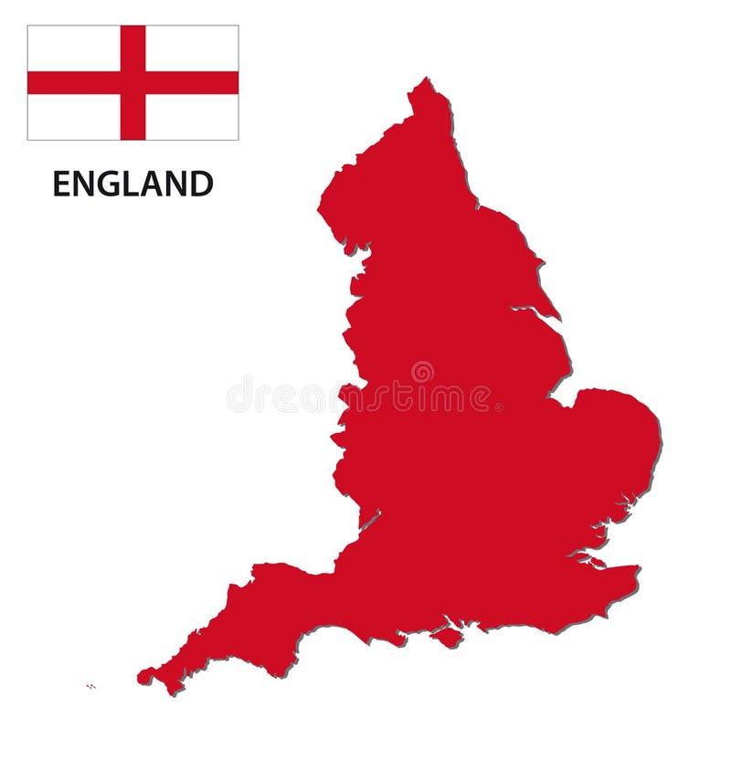 Anglia mapa z flaga ilustracja wektor