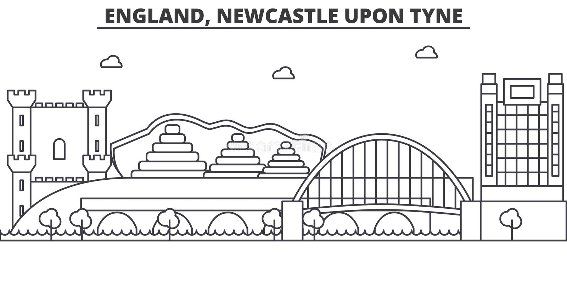 Anglia, Newcastle Na Tyne architektury linii linii horyzontu ilustrację Liniowy wektorowy pejzaż miejski z sławnymi punktami zwro royalty ilustracja