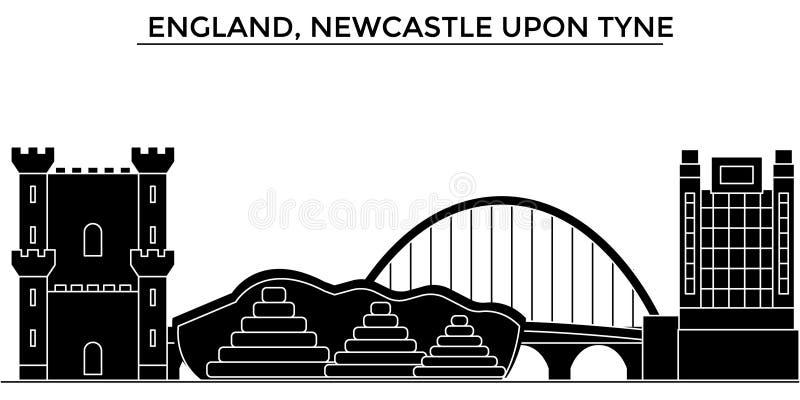Anglia, Newcastle Na Tyne architektury miasta wektorową linię horyzontu, podróż pejzaż miejski z punktami zwrotnymi, budynki, odi ilustracja wektor