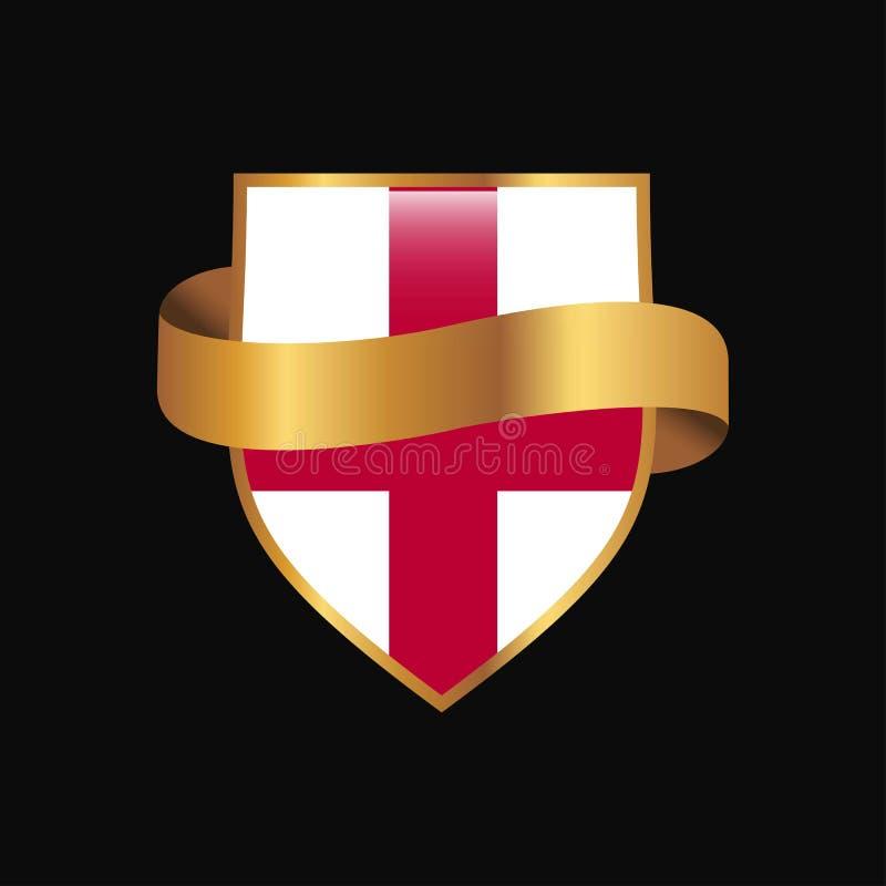 Anglia odznaki projekta chorągwiany Złoty wektor ilustracji