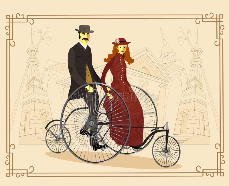 Anglia para cykliści na bicyklu również zwrócić corel ilustracji wektora - Bolączka royalty ilustracja