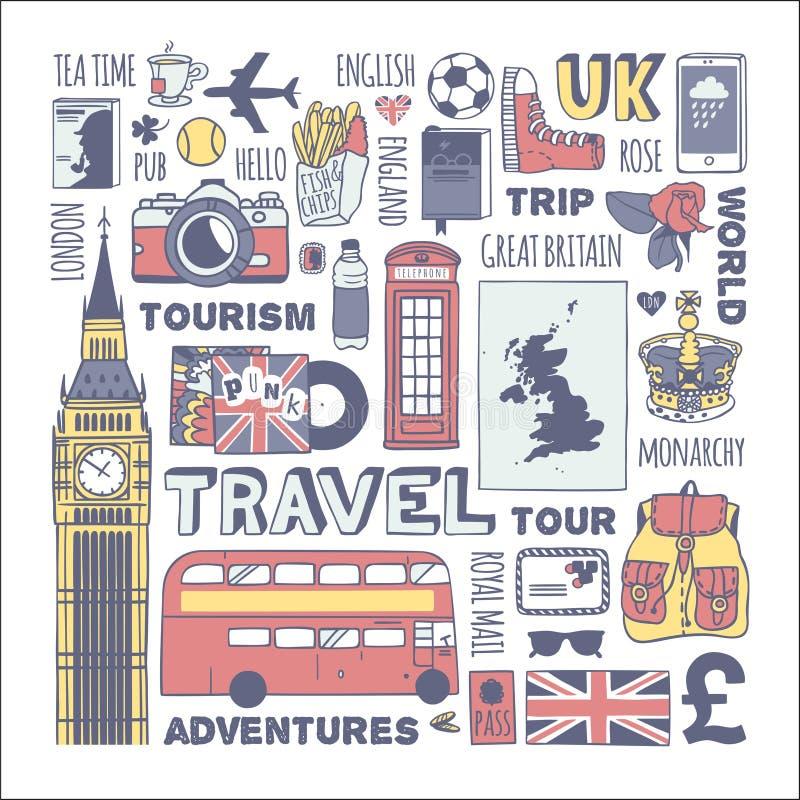 Anglia podróży set ilustracja wektor