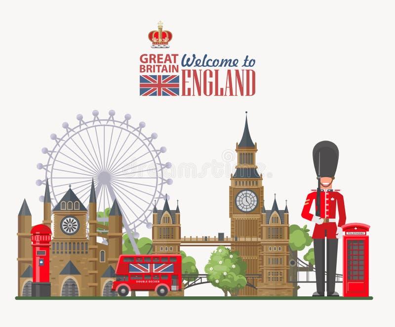 Anglia podróży wektorowa ilustracja z Big Ben Wakacje w Zjednoczone Królestwo Wielki Brytania tło Podróż UK ilustracji