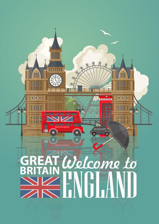Anglia podróży wektorowa ilustracja z czarnym parasolem Wakacje w Zjednoczone Królestwo Wielki Brytania tło Podróż UK ilustracja wektor