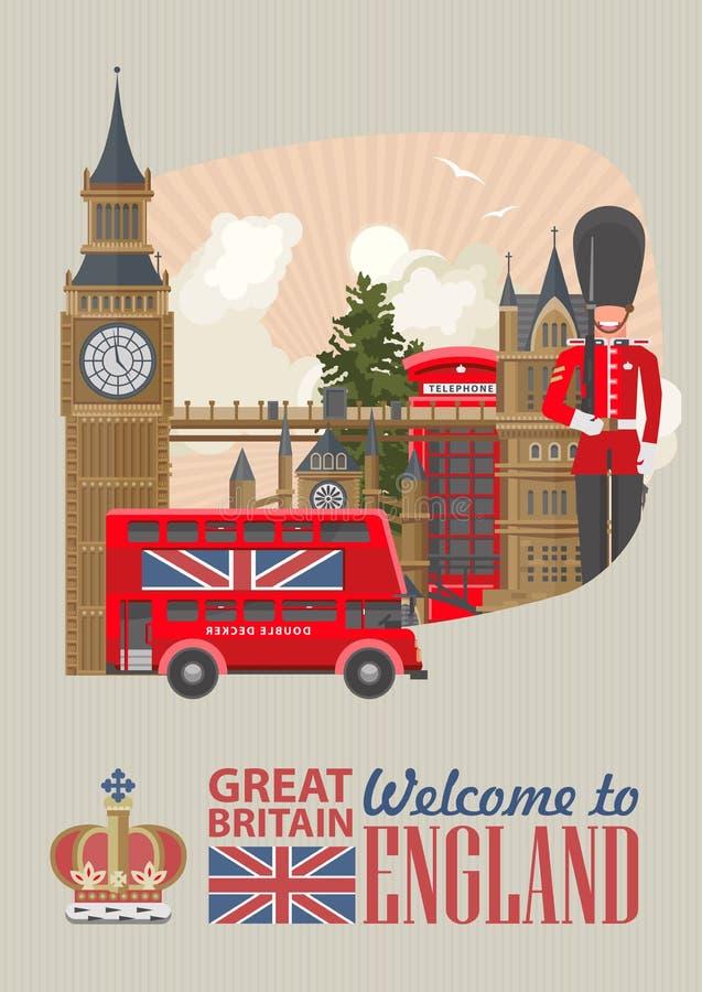 Anglia podróży wektorowa ilustracja z czerwonym autobusowym Decker Wakacje w Zjednoczone Królestwo Wielki Brytania tło Podróż UK royalty ilustracja