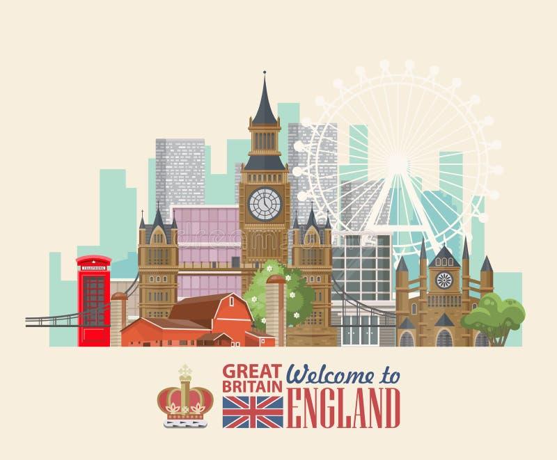 Anglia podróży wektorowa ilustracja z koroną Wakacje w Zjednoczone Królestwo Wielki Brytania tło Podróż UK ilustracja wektor
