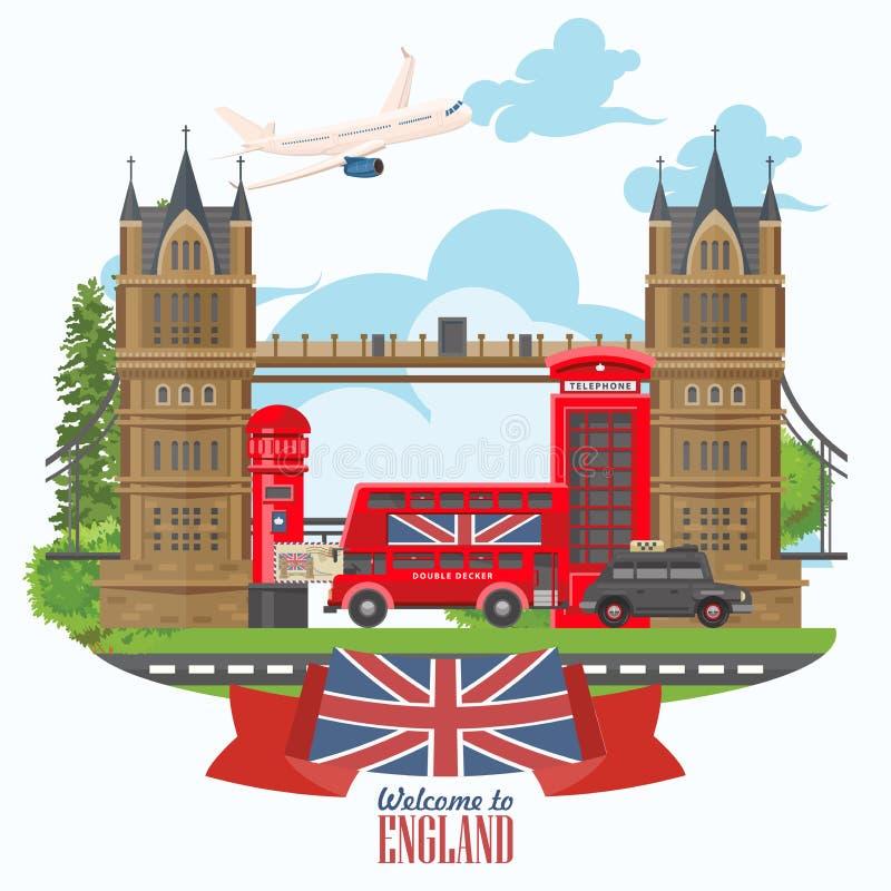 Anglia podróży wektorowa ilustracja z Londyn mostem Wakacje w Zjednoczone Królestwo Wielki Brytania tło Podróż UK ilustracja wektor