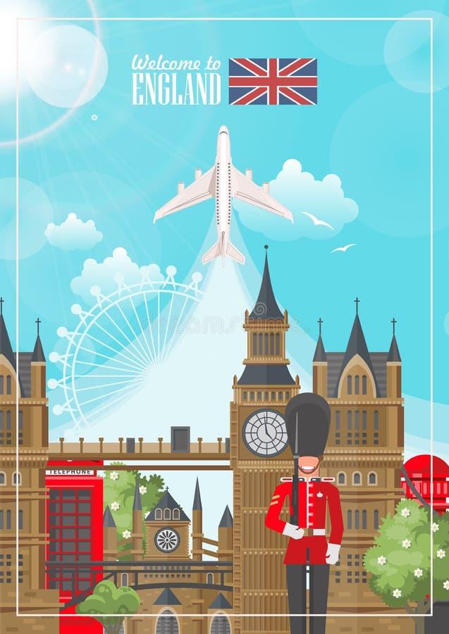 Anglia podróży wektorowa ilustracja z samolotem Wakacje w Zjednoczone Królestwo Wielki Brytania tło Podróż UK royalty ilustracja
