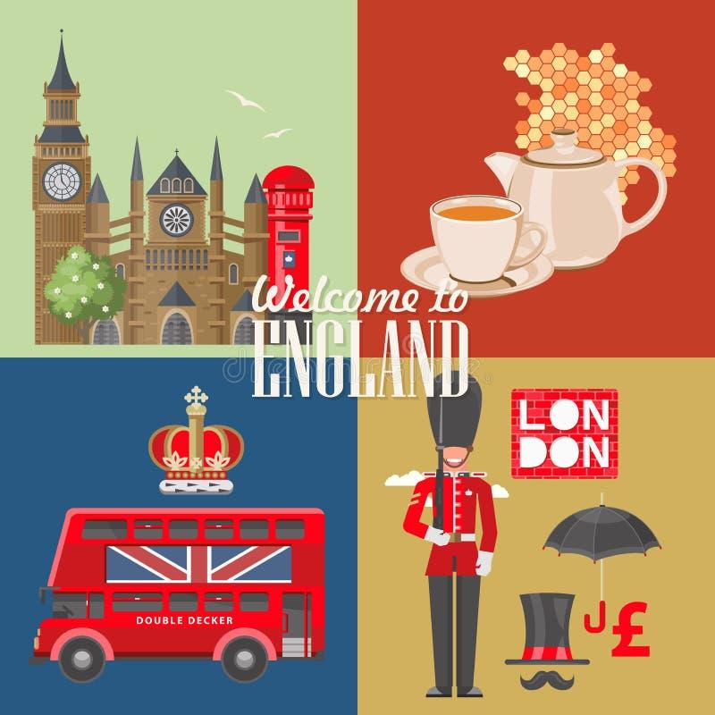 Anglia podróży wektorowa ilustracja z teapot Wakacje w Zjednoczone Królestwo Wielki Brytania tło Podróż UK royalty ilustracja