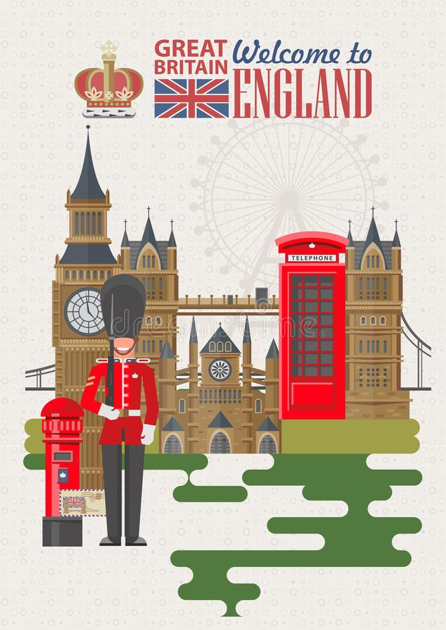 Anglia podróży wektorowa ilustracja z UK flaga Wakacje w Zjednoczone Królestwo Wielki Brytania tło Podróż UK royalty ilustracja