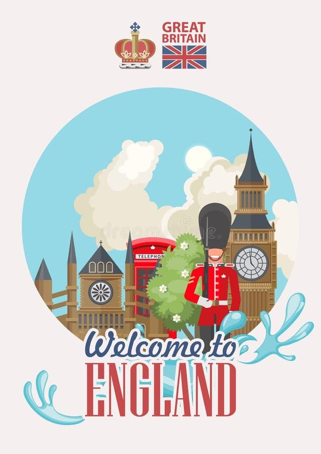 Anglia podróży wektoru ilustracja Powitanie Anglia Wakacje w Zjednoczone Królestwo Wielki Brytania tło Podróż UK ilustracja wektor