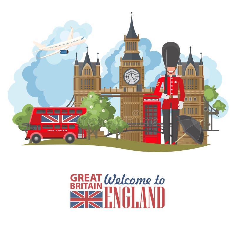 Anglia podróży wektoru ilustracja Wakacje w Zjednoczone Królestwo Wielki Brytania tło Podróż UK ilustracji