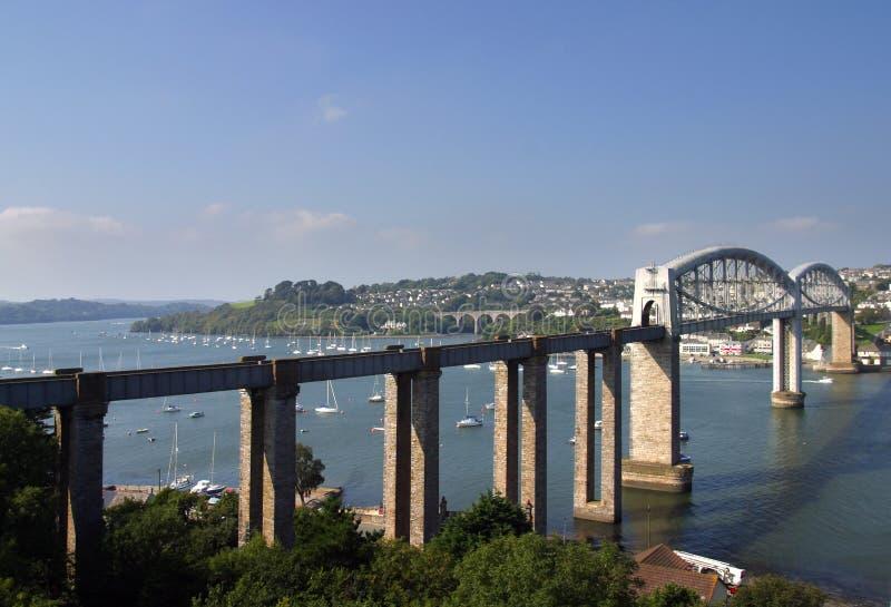 Anglia, Tamar, Brunels poręcza most obrazy stock