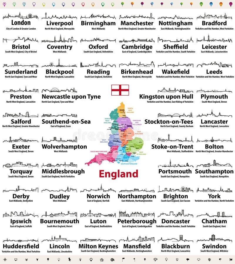 Anglia ważnych miast linii horyzontu konturu abstrakcjonistyczne ikony Mapa Anglia z wszystko specjalizuje się miasta i administr royalty ilustracja