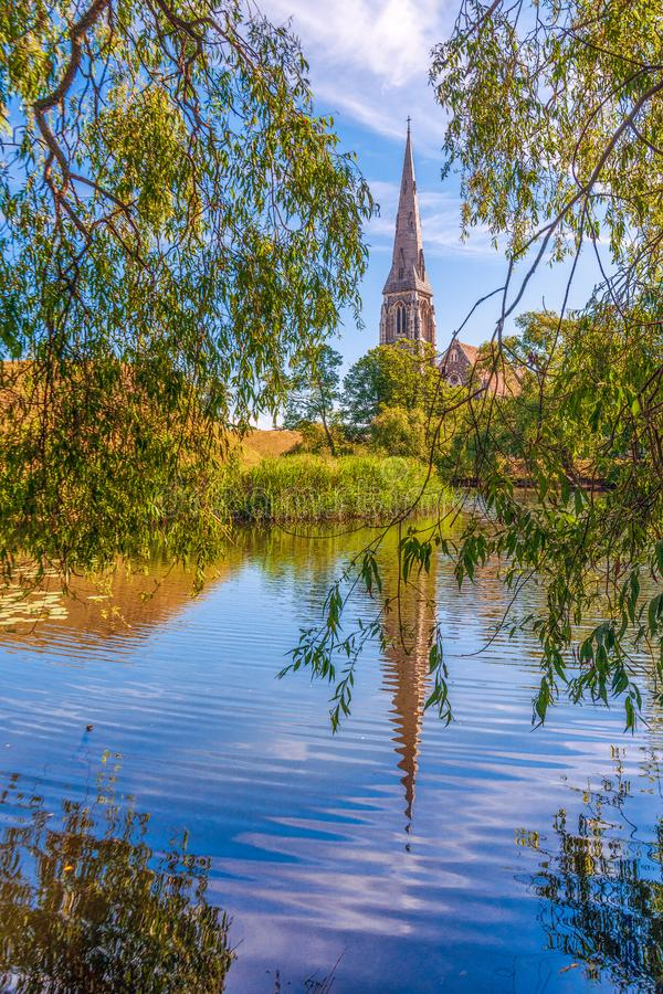 Anglikansk kyrka för St Albans copenhagen denmark royaltyfria bilder
