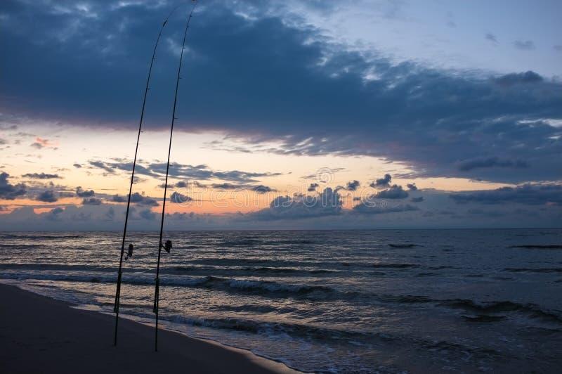 Angling at dusk stock image