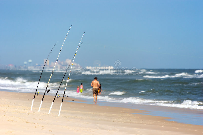 Angling rods at the beach stock photo