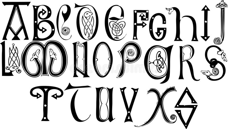 anglo århundradesaxon för 8th 9th alfabet stock illustrationer