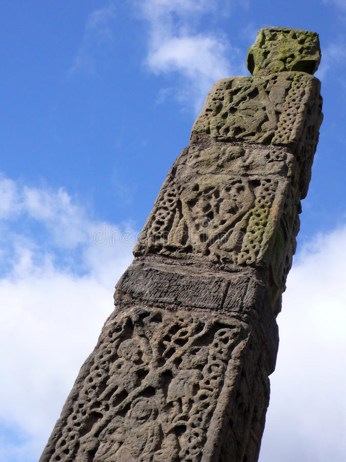 Anglo Saxon Cross detail in Sandbach Cheshire UK. Detail of Anglo saxon stone in the market town of Sandbach Cheshire UK stock images