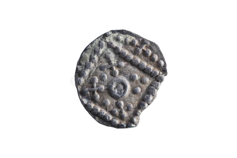 Anglo Saxon silver Sceat coin reverse side of the early 8th century royalty free stock photos