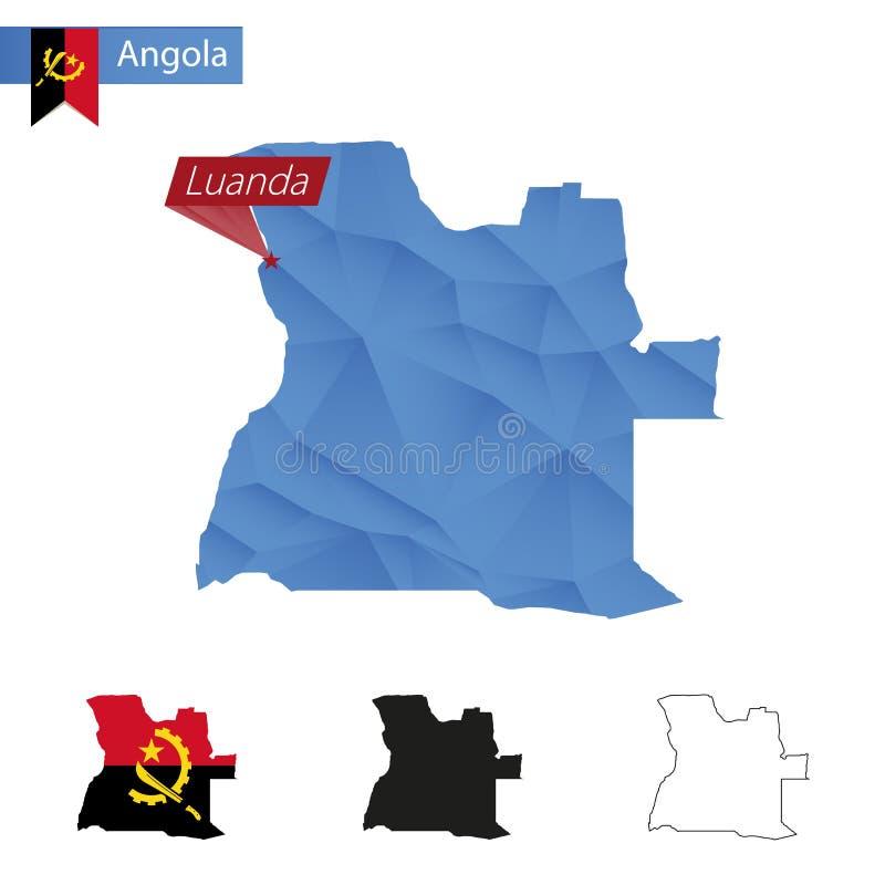 Angola błękitna Niska Poli- mapa z kapitałem Luanda ilustracja wektor