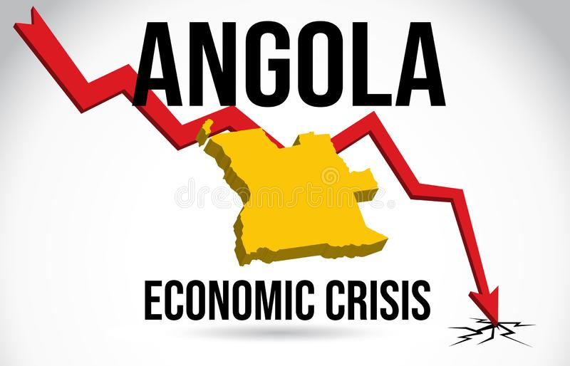 Angola Map Financial Crisis Economic Collapse Market Crash Global Meltdown Vector. Illustration stock illustration