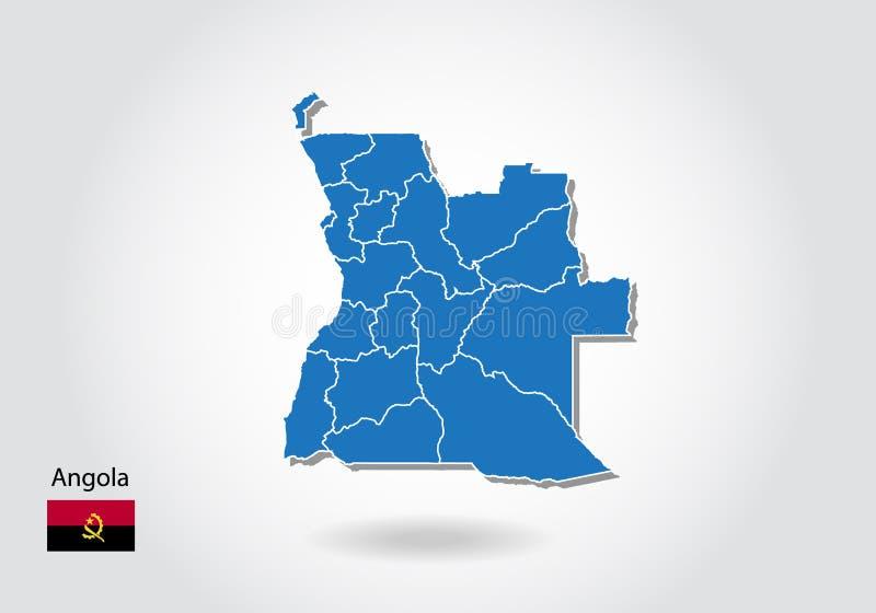 Angola mapy projekt z 3D stylem Błękitna Angola flaga państowowa i mapa Prosta wektorowa mapa z konturem, kształt, kontur, na bie ilustracja wektor