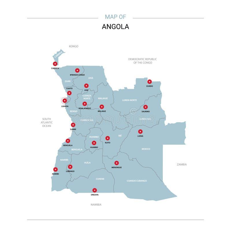 Angola mapy wektor z czerwieni szpilką ilustracja wektor