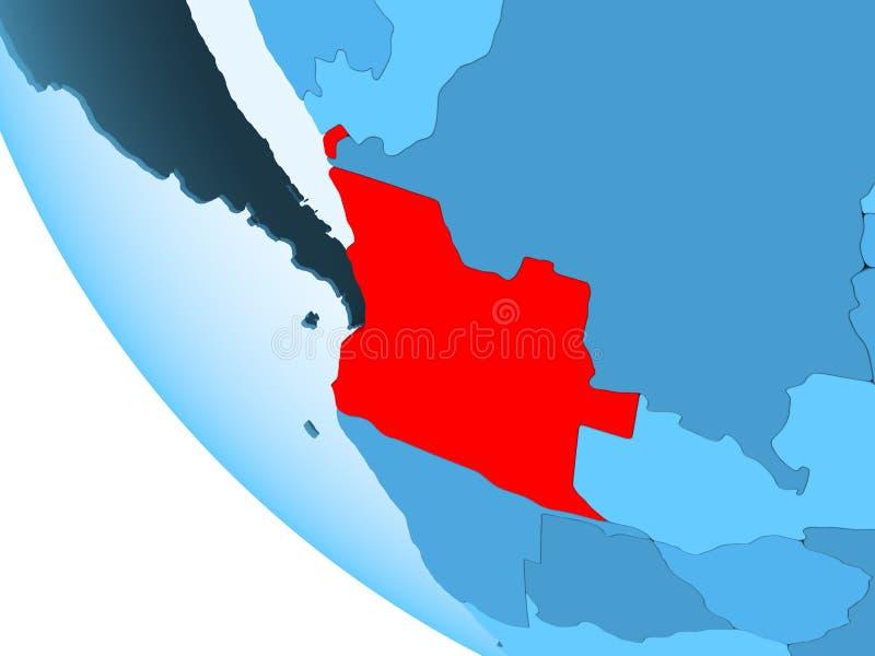 Angola na błękitnej politycznej kuli ziemskiej ilustracji