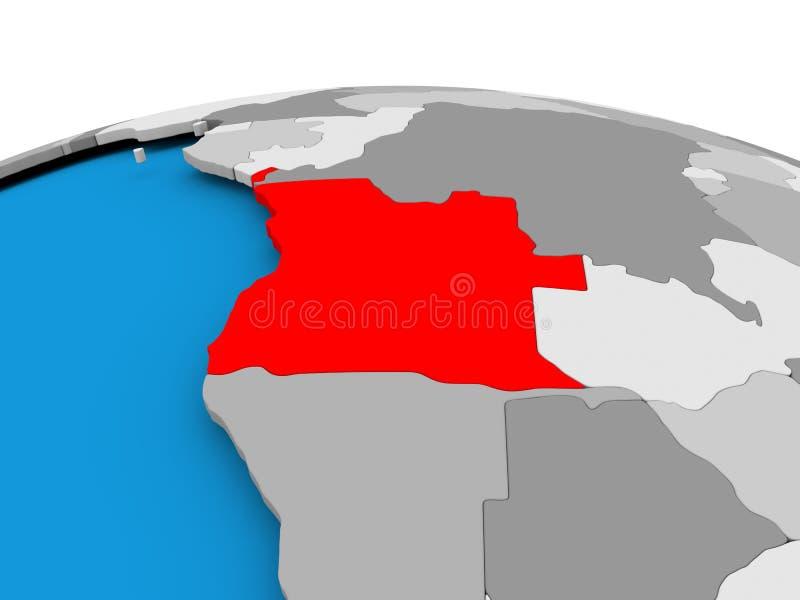 Angola na politycznej kuli ziemskiej ilustracja wektor