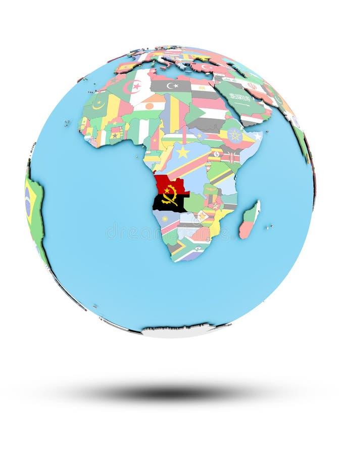 Angola na politycznej kuli ziemskiej z flaga ilustracja wektor