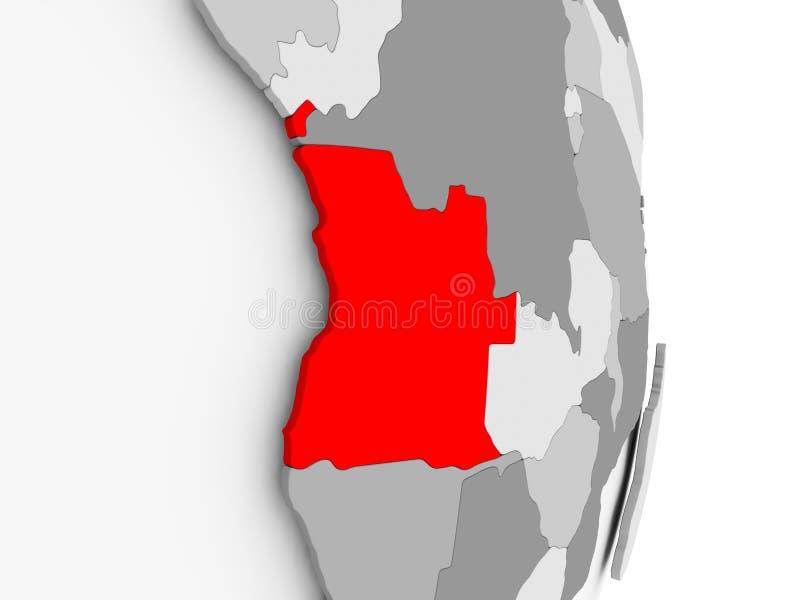Angola na popielatej politycznej kuli ziemskiej royalty ilustracja