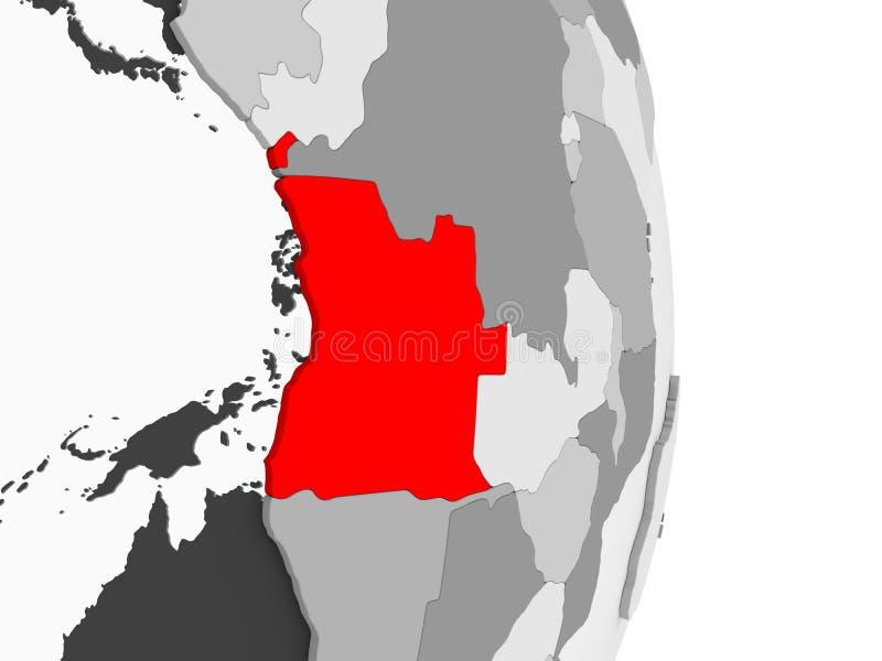 Angola na popielatej politycznej kuli ziemskiej ilustracji
