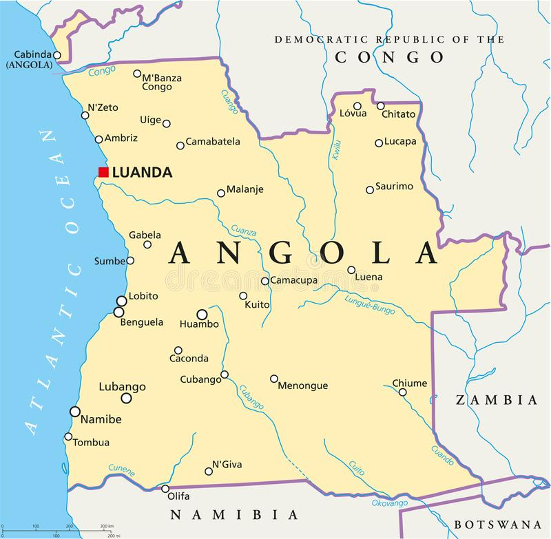 Angola polityczna mapa royalty ilustracja