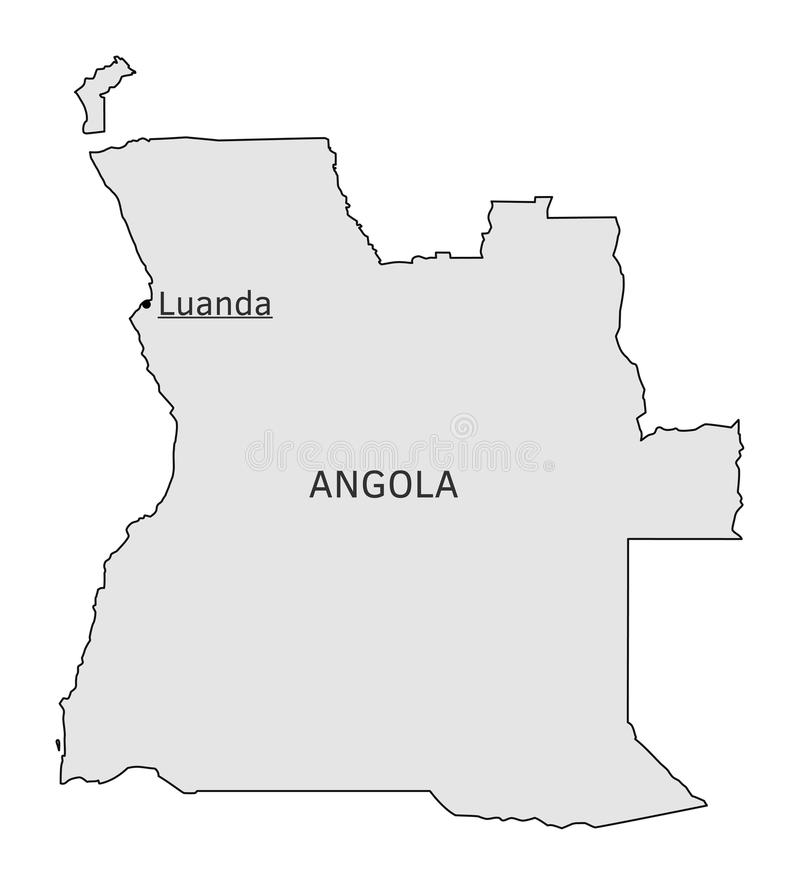 Angola Silhouette Map With Luanda Capital Stock Vector