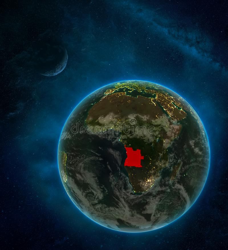 Angola from space on Earth at night surrounded by space with Moon and Milky Way. Detailed planet with city lights and clouds. 3D. Illustration. Elements of this royalty free illustration