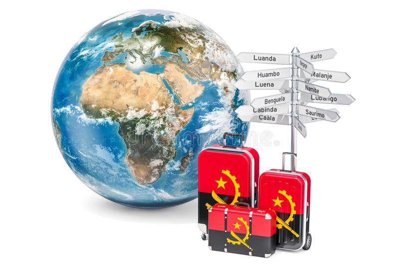 Angola travel concept. Suitcases with Angolan flag, signpost and. Earth globe. 3D stock illustration