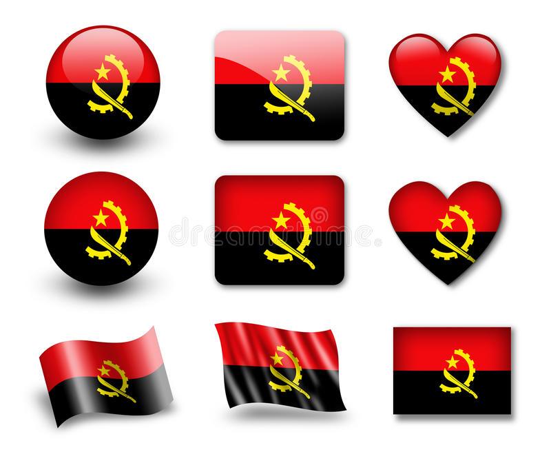 Download The Angolan flag stock illustration. Image of logotype - 23309089