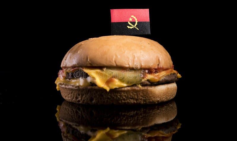 Download Angolanische Flagge Auf Hamburger Auf Schwarzem Stockbild - Bild von nahrung, käse: 96931739