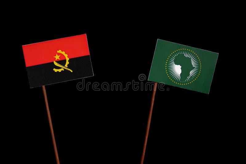 Download Angolanische Flagge Mit Flagge Der Afrikanischen Union Auf Schwarzem Stockfoto - Bild von angolisch, kommunikation: 96931726