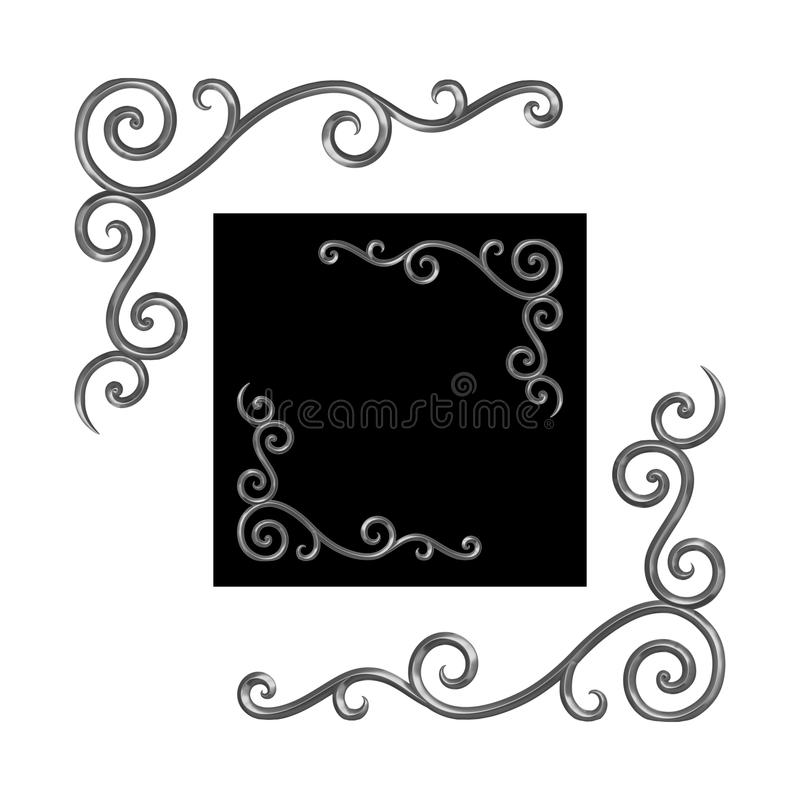 Angoli dell'elemento del ferro battuto illustrazione di stock