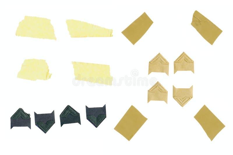 Angoli della foto e strisce del nastro adesivo per il montaggio delle fotografie, isolato fotografie stock
