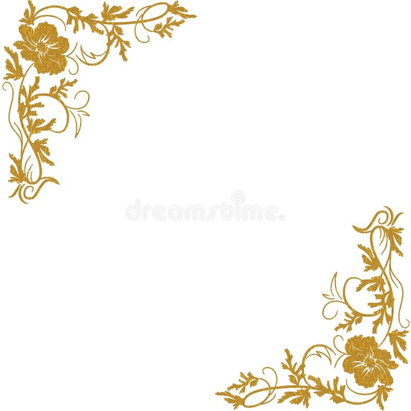 Angoli floreali dell'oro illustrazione vettoriale