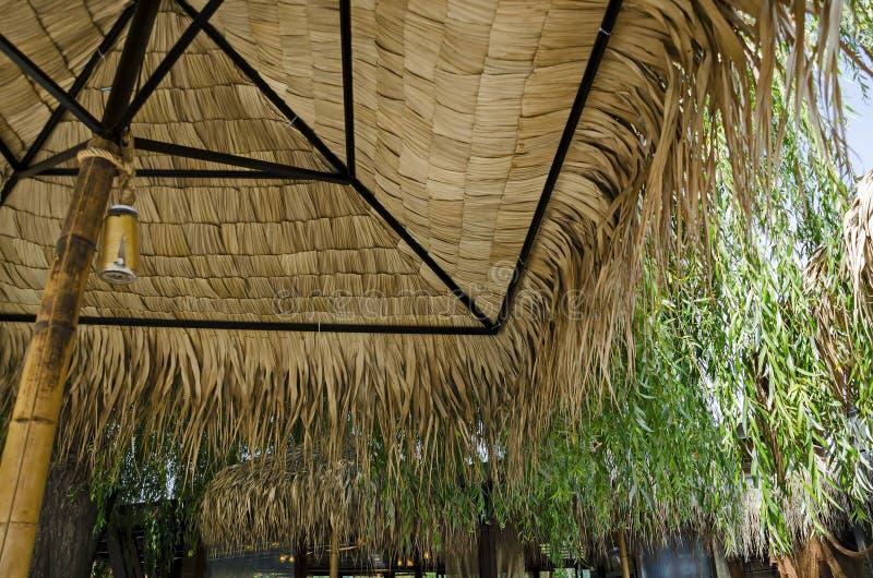 Angolo accogliente per rilassamento di estate con l'amico sotto la fine del parasole della palma su dentro dentro, gradina di Bor fotografie stock